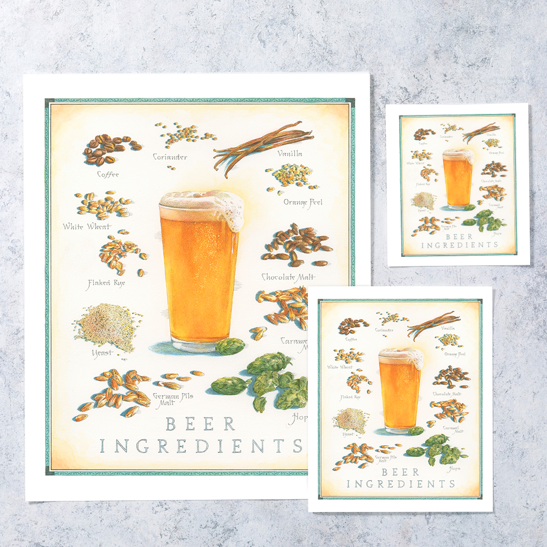 Cooks Illustrated Unframed Print: Beer Ingredients